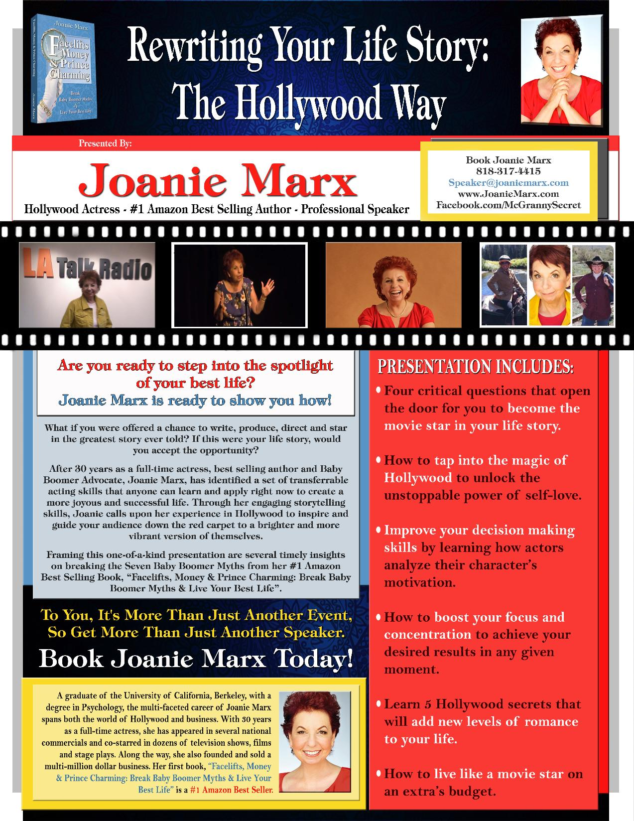 Joanie Marx Presentation-Topic-Rewriting-Your-Life-Story-The-Hollywood-Way-Joanie-Marx-2016 Interview Sheet & Presentation Sheets